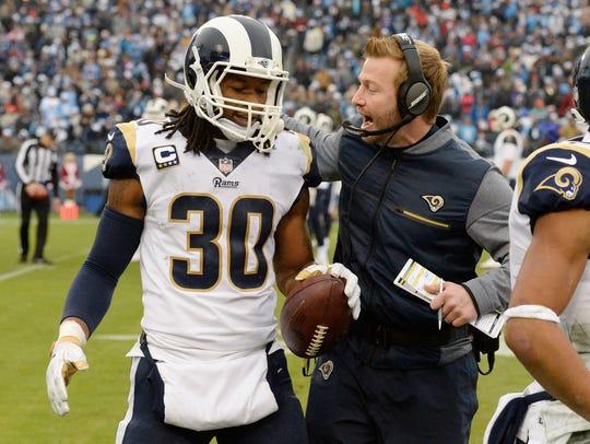Todd Gurley is congratulated by Rams head coach Sean