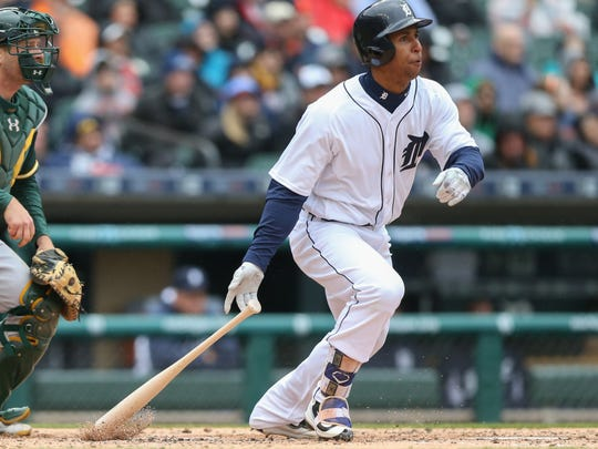Detroit Tigers' Anthony Gose doubles against the Oakland