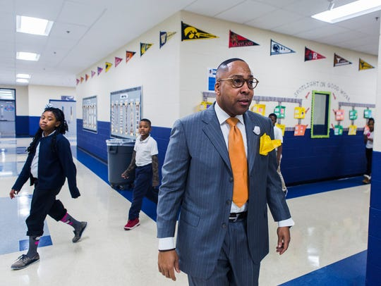 Westhaven Elementary principal Rodney Rowen walks the