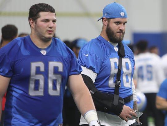 Detroit Lions linemen Joe Dahl, left, and Taylor Decker
