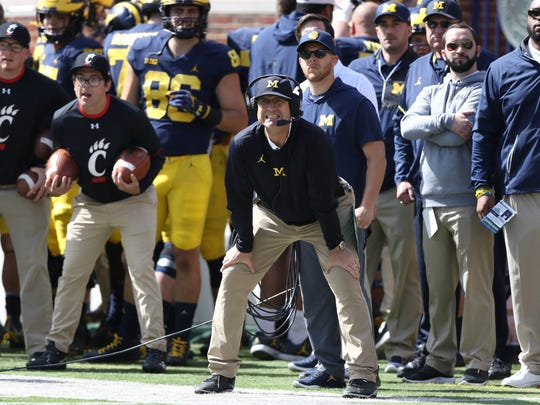 Michigan coach Jim Harbaugh on the sideline against Cincinnati on Saturday, Sept. 9, 2017 at Michigan Stadium.