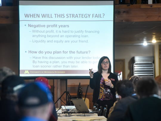 University of Minnesota Extension Ag Economist Joleen Hadrich speaks during a Farming in Tough Times workshop Wednesday, Jan. 17, in Albany.