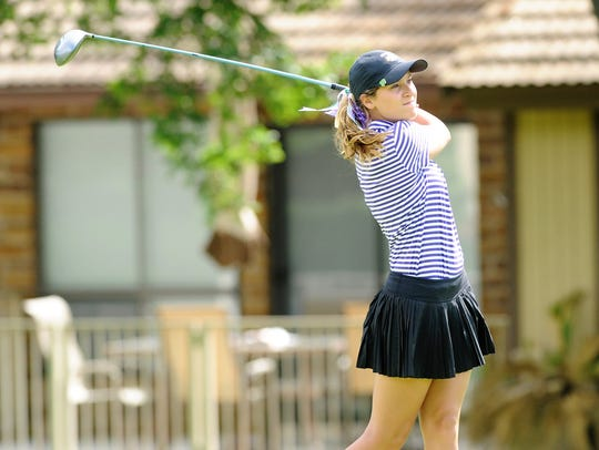 Wylie's Kaitlyn Harbin watches her shot during the second round of the UIL Class 4A state tournament at the Slick Rock Golf Course at Horseshoe Bay.