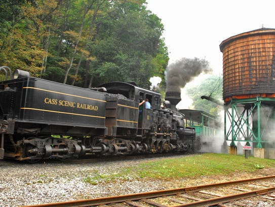 A passenger train from the Cass Scenic Railroad passes