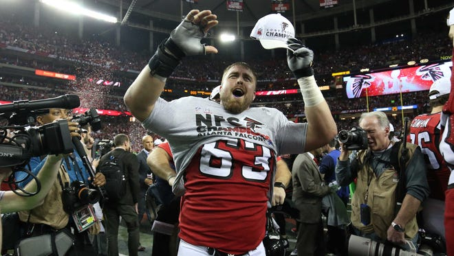 Atlanta Falcons center Ben Garland (63) reacts after beating the Green Bay Packers in the 2017 NFC Championship Game at the Georgia Dome. Garland is a former Air Force lineman.