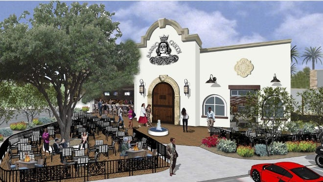 A rendering of Barrio Queen's Desert Ridge Marketplace location, looking at the outdoor patio.