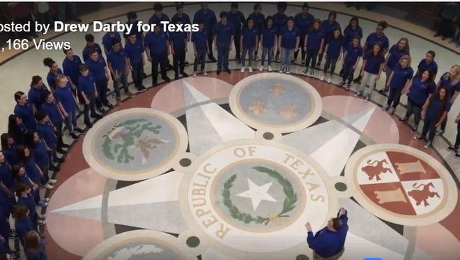 A patriotic performance by the San Angelo Central High School Choir in Austin on Thursday, March 15, 2018, is gaining attention on social media after State Rep. Drew Darby shared the videos on his Facebook page.