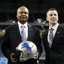 Detroit Lions president Tom Lewand, right, with head coach Jim Caldwell at Ford Field in Detroit on Jan. 15, 2014.