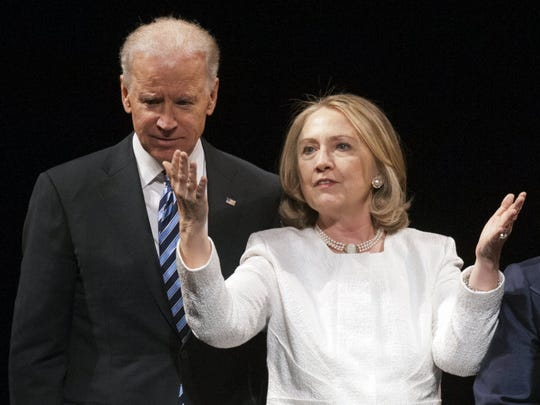 Vice President Joe Biden and Hillary Clinton appear together in Washington on April 2, 2013.