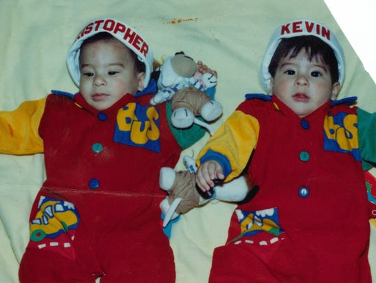 Kristopher and Kevin Chavez, at about six months, in