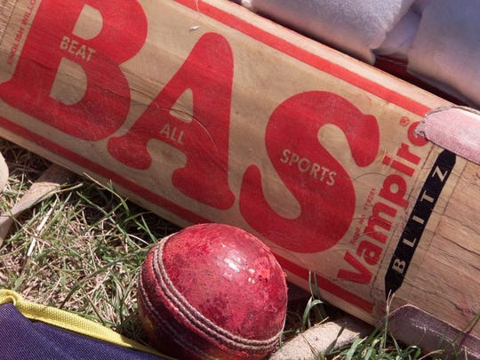 Detail of a cricket bat and ball.