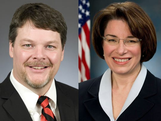 Minnesota state Rep. Jim Newberger, left, will run in 2018 for a U.S. Senate seat currently held by Sen. Amy Klobuchar, right.
