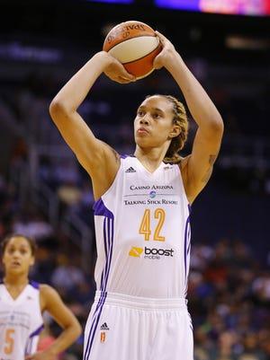 Phoenix Mercury center Brittney Griner (42) against the Seattle Storm in their WNBA game  Wednesday, August 12, 2015 in Phoenix, Ariz.