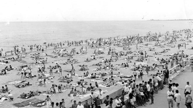 An overcast day did not keep the crowds away from Scarborough State Beach on Aug. 2, 1961, when social distancing was not on anyone's mind.