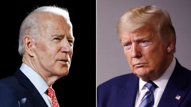 Former Vice President Joe Biden, left, and President Donald Trump. AP file