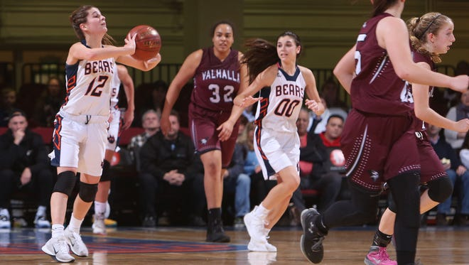 Briarcliff defeated Valhalla 39-27 in girls basketball Section 1 Class B semifinal at the Westchester County Center in White Plains Feb. 28, 2017.