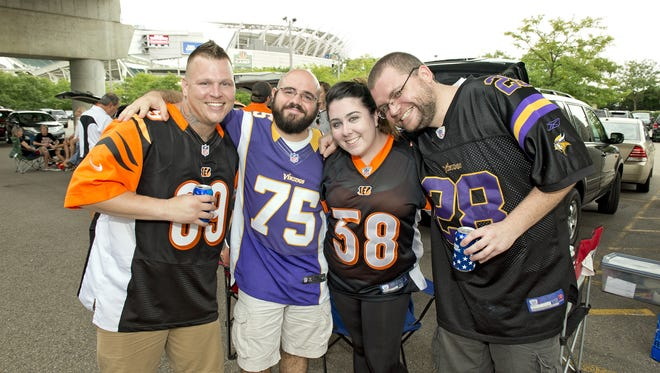Bengals fans gathered for the first tailgating session of the year as the Bengals took on the Minnesota Vikings in exhibition play. Kevin Yoder of West Chester, Anthony Topputo of Glendale, Kaley Zeuch of West Chester and Chris Vogel of Mason.