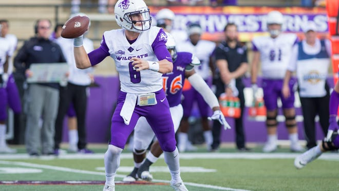 ACU quarterback Luke Anthony prepares to throw a pass against Northwestern State. The redshirt freshman made his first college start and threw for 345 yards and two touchdowns in a 26-23 overtime loss Saturday, Nov. 4, 2017 in Natchitoches, Louisiana.