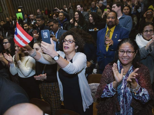 Supporters gave Congresswoman Alexandria Ocasio-Cortez a standing ovation following her inaugural address.