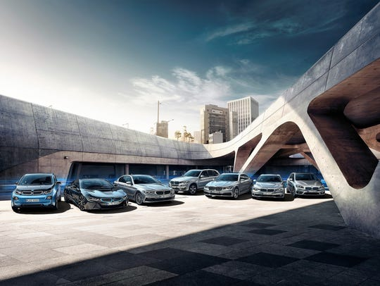Pictured here are the 2017 electric and hybrid models