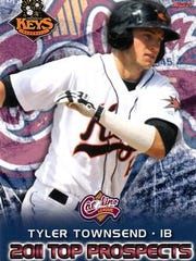 The player card of Tyler Townsend, played in the Baltimore Orioles system, is shown. He went public that he is gay in August.