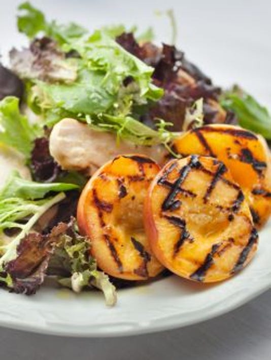 Chicken salad with grilled peaches