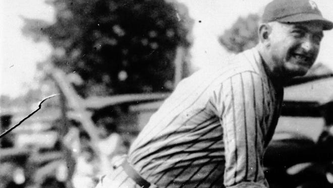 """Joseph """"Shoeless Joe"""" Jackson is shown in action during his heyday in an undated photo. He was one of the key figures in the infamous """"Black Sox"""" scandal, which rocked baseball and caused the introduction of a baseball commissioner. He ended his 14 seasons in the majors with a lifetime batting average of .356 and was an outfielder. He played in the majors from 1908 to 1920."""