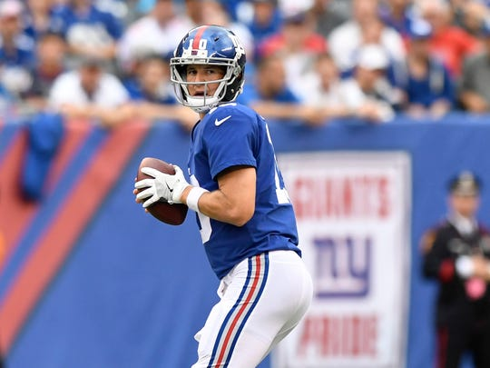 New York Giants quarterback Eli Manning #10 in the first half. The Los Angeles Chargers lead the New York Giants 10-9 in the first half on Sunday, October 8, 2017 in East Rutherford, NJ.