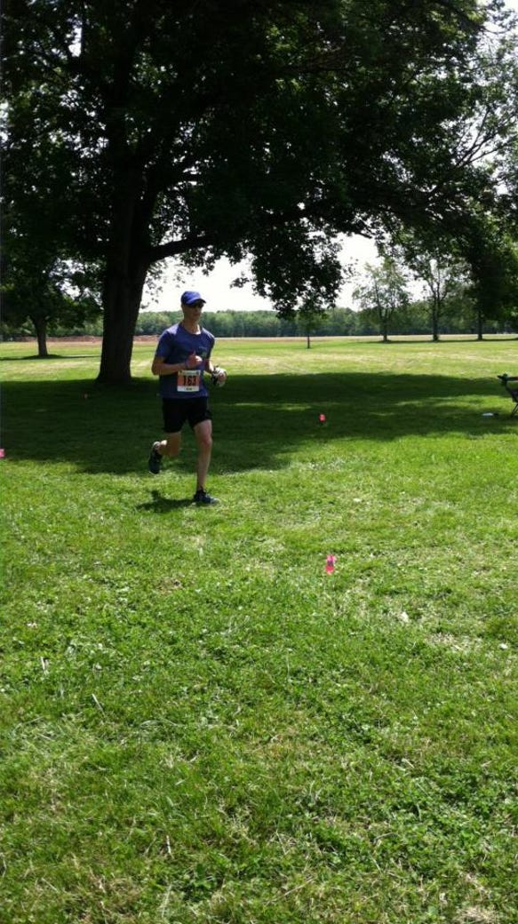 Running as hard as I can to the finish.