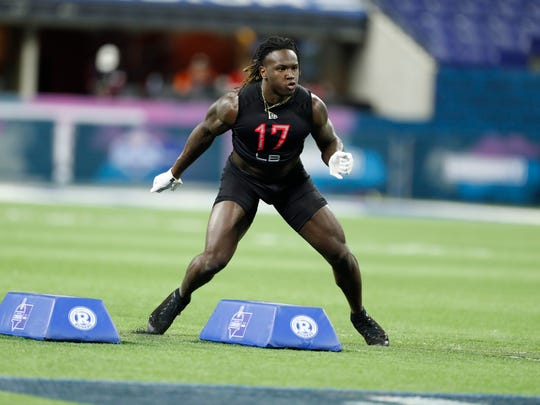 Feb 29, 2020; Indianapolis, Indiana, USA; Mississippi State linebacker Willie Gay Jr (LB17) goes through a workout drill during the 2020 NFL Combine at Lucas Oil Stadium. Mandatory Credit: Brian Spurlock-USA TODAY Sports