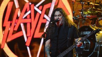Tom Araya of Slayer performs at the 6th Annual Revolver Golden Gods Award Show at Club Nokia on April 23, 2014 in Los Angeles, California.