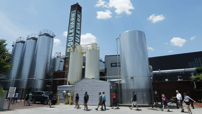 A group tours the Boulevard Brewing Co. in Kansas City, Mo.