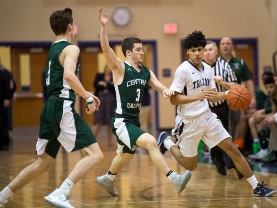 Central Dauphin's Chase Arnold (5) and Corbin Van Dyck