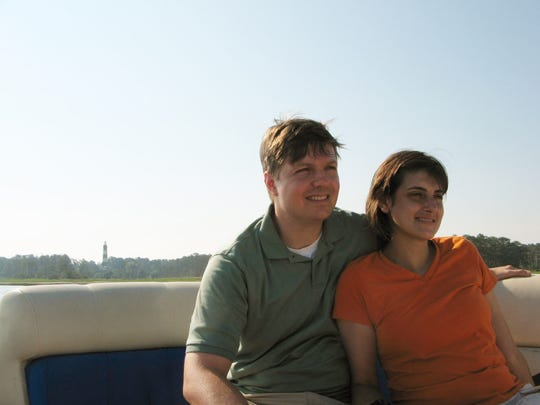 Cindy Stowell and Jason Hess on a Spider's Cruise around Chincoteague, Virginia in 2013.