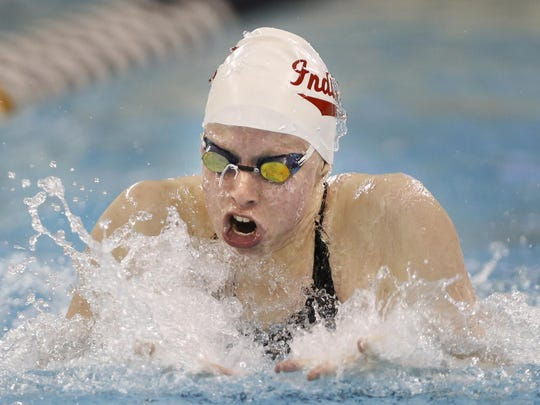 Lilly King of Indiana on her way to first place in the 100 yard breaststroke with a time of 56:30 during day three of the 2017 Big Ten Women's Swimming and Diving Championships Friday, February 17, 2017, at Purdue University. King's time was the fastest ever in the Big Ten and a new American Record.