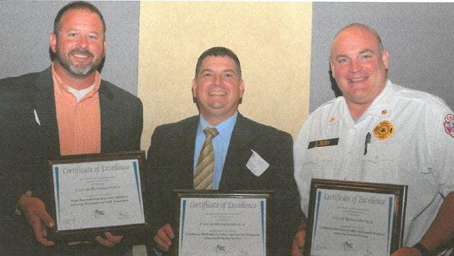 Pictured from left, are Hendersonville Parks Director Brandon Rogers, HPD Lt. Scott Ryan and Fire Chief Scotty Bush.