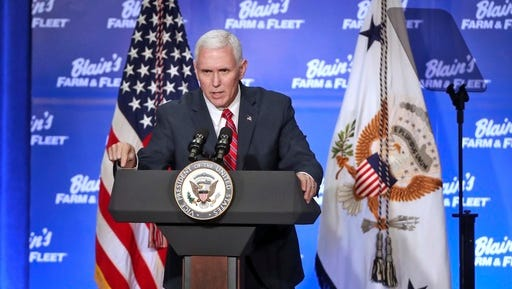 Vice President Mike Pence delivers remarks following a meeting with area business leaders and a short tour of Blain Supply's company headquarters and warehousing facility during his trip to  Janesville, Wis. on Friday, March 3, 2017.