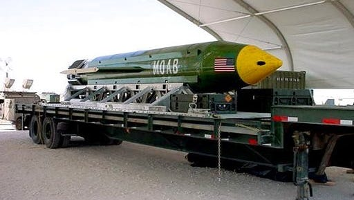 This undated photo provided by Eglin Air Force Base shows a GBU-43B, or massive ordnance air blast weapon, the U.S. military's largest non-nuclear bomb, which contains 11 tons of explosives. The Pentagon said U.S. forces in Afghanistan dropped a GBU-43B on an Islamic State target in Afghanistan on Thursday, April 13, 2017, in what a Pentagon spokesman said was the first-ever combat use of the bomb.