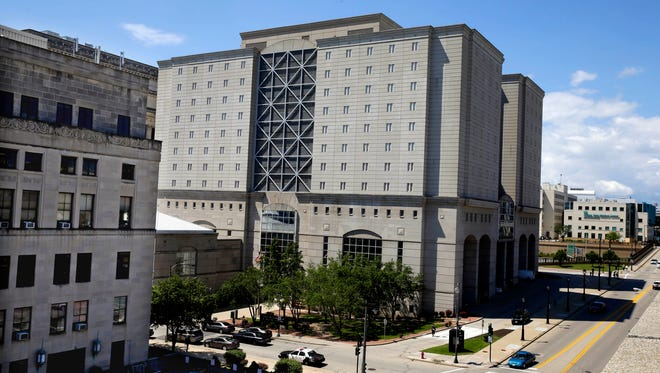 The Milwaukee County Jail is located inside the Criminal Justice Center (at right) in downtown Milwaukee.
