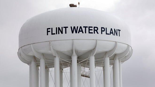 The Flint Water Plant tower, Jan. 13, 2016.