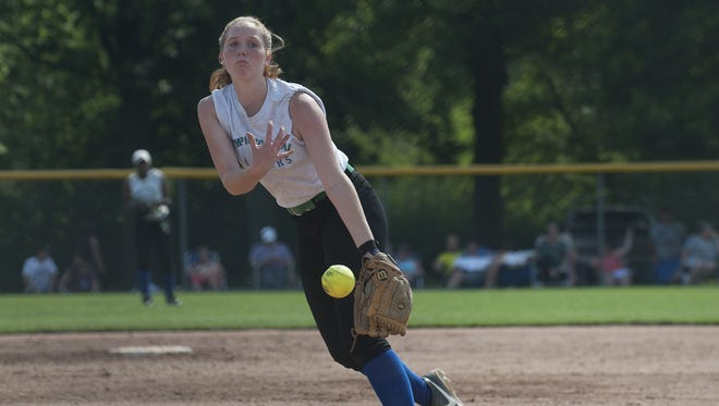 Olympic Colonial pitcher Maddie Petroski, throws against Lehigh Valley during the Carpenter Cup Tournament on Monday.