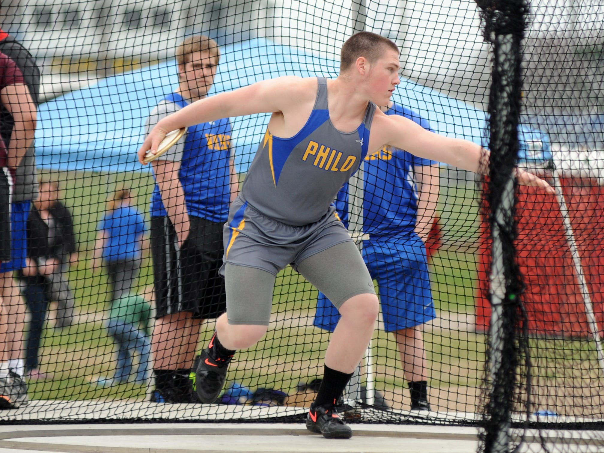 Philo's Payton Henderson competes in the discus throw Tuesday at the Muskingum Valley League relay meet in Duncan Falls.