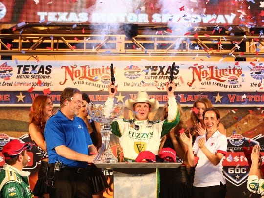 Ed Carpenter gets fired up about his win at last year's Fort Worth race.