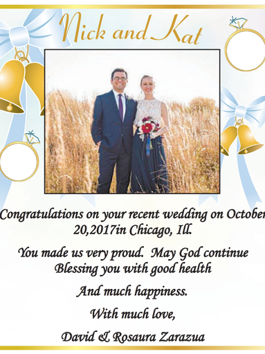 Nick and Kat Congratulaions on your recent wedding