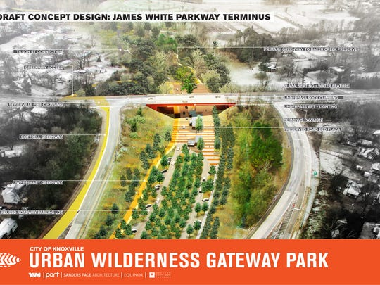 Draft concept design for James White Parkway Terminus at planned Urban Wilderness Gateway Park