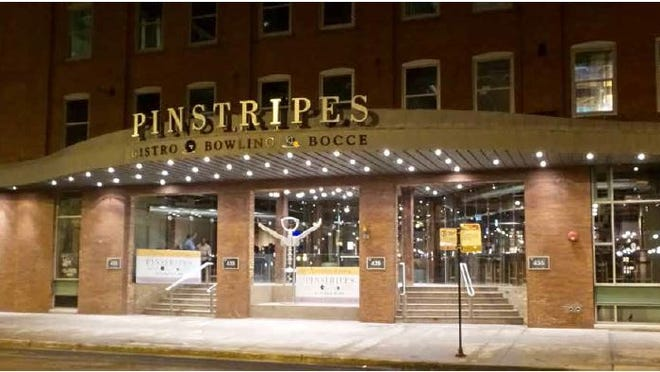Pinstripes Bistro Bocce Bowling, which operates this location in downtown Chicago among seven nationwide, is coming to Cool Springs.