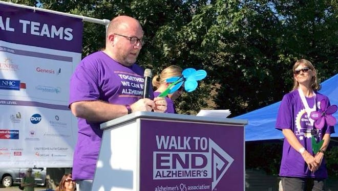 Phil Gutis speaks about his diagnosis of Early Onset Alzheimer's Disease at an Alzheimer's Association event in 2017.