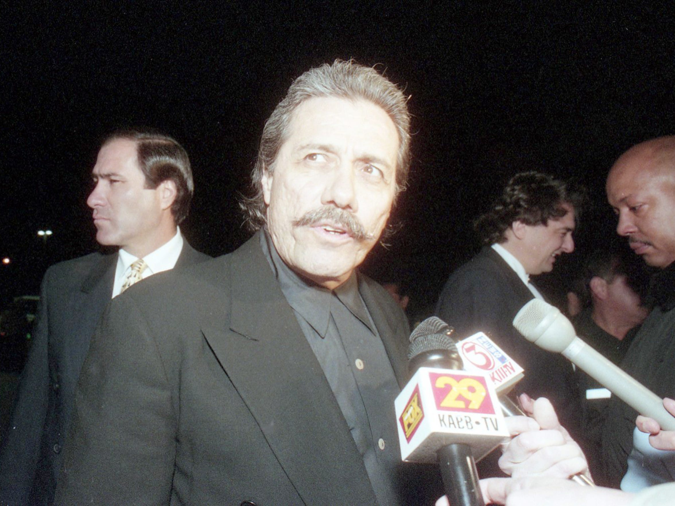 """Edward James Olmos at the """"Selena"""" movie premiere March 14, 1997 at Tinseltown in Corpus Christi, TX."""