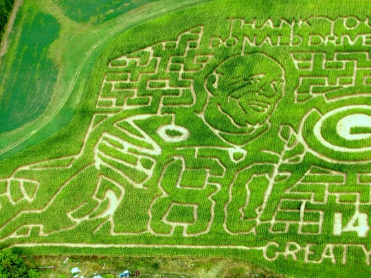 Dave and Leslie Meuer's farm in Calumet County, about 30 miles southeast of Appleton, have done corn maze designs for the past several years, once showcasing former Packers receiver Donald Driver.