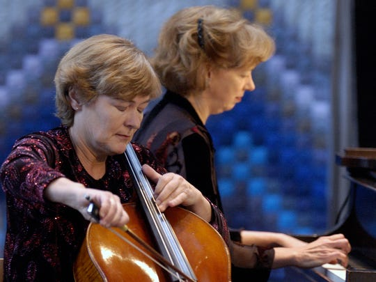 Cellist Dieuwke Davydov (left) and pianist Diana Fanning perform at the Cathedral Church of St. Paul in Burlington on Sunday, December 3, 2006, one of a series of concerts celebrating the Davydov-Fanning Duo's 30th anniversary.